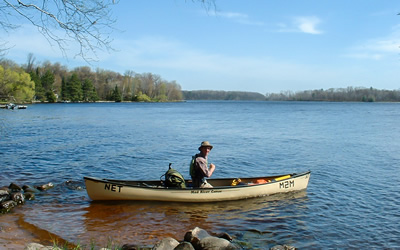Scott Nielsen canoes through Wisconsin and Michigan on a solo watershed biodiversity transect expedition (Photo: Scott Nielsen)